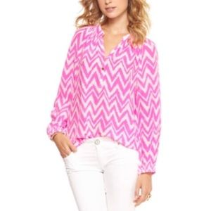 Lilly Pulitzer Silk Elsa Top Get Your Chev On XS